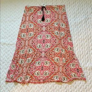 NWT J. Jill Pink & Multi Color Print Skirt - Large